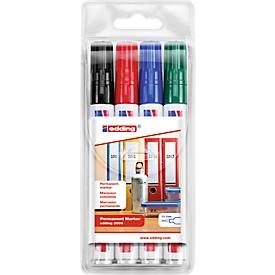 EDDING Permanent marker 3000, 4 st., diverse kleuren
