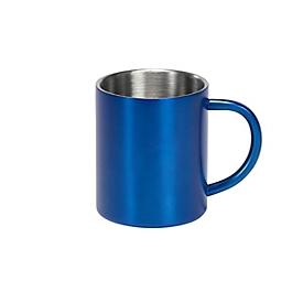 Edelstahlbecher - ca. 300 ml, Blau, Auswahl Werbeanbringung optional