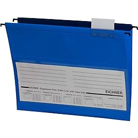 EICHNER hangmappen, voor formaten tot A4, opening aan de zijkant, pvc, blauw, 10 stuks