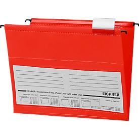 EICHNER hangmappen, voor formaten tot A4, opening aan de zijkant, pvc, rood, 10 stuks