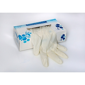Einmalhandschuhe, Latex, gepudert, Größe L, beidhändig, ISO-Norm, unsteril, weiß, Packung mit 100 Stück.