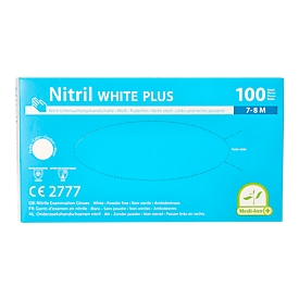 Einmalhandschuhe Medi-Inn® PS Nitril White Plus, für links/rechts, puderfrei, nicht steril, allergikergeeignet, Größe M, Nitril, weiß, 100 Stück