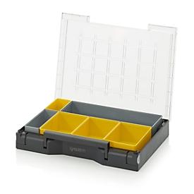Einsatzkasten-Set für Sortimentskasten 400 x 300 mm, ABS-Kunststoff, verschied. Rastergrößen, grau/gelb, 6-teilig