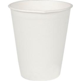 Einweg-Trinkbecher, mikrowellengeeignetes Zuckerrohr, Volumen 200 ml, L 91 x ø 80 mm, 40 Stück, weiß