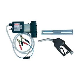 Electrobomba CEMO Cematic Duo 24/12 AZ, 24V, 70l/min, autoaspirante, pistola de surtidor automática con soporte, manguera de llenado 4m