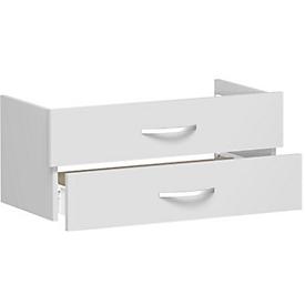 Elemento de cajón ALICANTE, 2 cajones = 1 juego, An 800 x P 400 x Al 384mm, gris luminoso