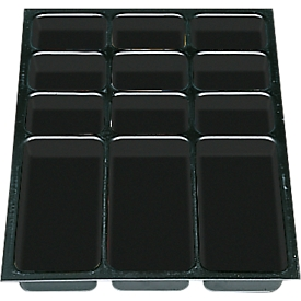 Elementos de cajón de plástico DIN A3, 12 compartimentos, 5 unidades