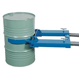 Elevador de barriles asecos, como apilador, acero revestido de polvo, An 710 x P 1110 x Al 160mm, para 1 barril, capacidad de carga 350kg