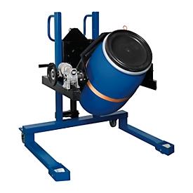 Elevador de barriles asecos, con zapatas prismáticas, An 830 x Al 1605 x P 1140mm, alcance de elevación 120 - 750mm, acero lacado