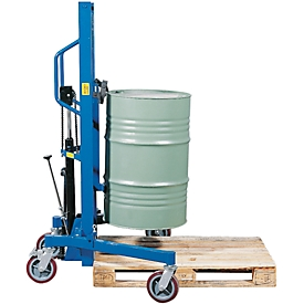 Elevador de barriles asecos, GH asecos, acero revestido de polvo, An 900 x P 1100 x Al 1885mm, capacidad de carga 350kg