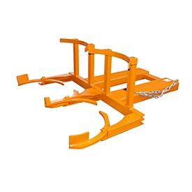 Elevador de barriles BAUER FH-II, acero, capacidad de carga 720 kg, para barriles de 220 l, An 1160 x P 1380 x Al 485mm, naranja