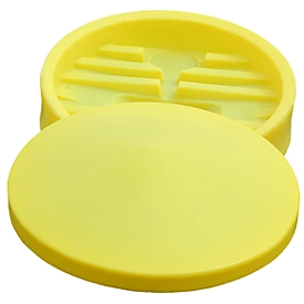 Embudo de barril con tapa extraíble, para tanques IBC de 100l, ø 640mm, colador de impurezas integrado, PE, amarillo