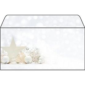 Enveloppen voor Kerstmis White Stars, lang, gecoat, 25 stuks