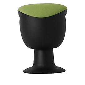 Ergo-Hocker, höhenverstellbar & kippbar, Griffmulde, Fußplatte mit Gleitern, bis 110 kg, B 380 x T 360 x H 460-560 mm, grün/schwarz