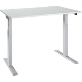 ERGO-T 2.0 tafel, elektrisch in hoogte verstelbaar, rechthoekig, T-voet, B 1200 x D 800 x H 715-1205 mm, aluminium lichtgrijs/wit