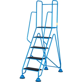 Escalera de plataforma móvil, 5 escalones de perfil de goma acanalada, azul