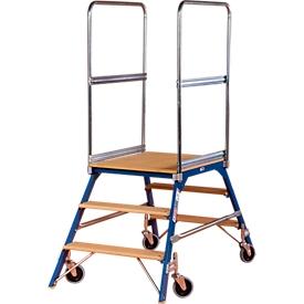 Escalera de plataforma, rodante, bilateral, escalones de haya, tam. 3, 40kg