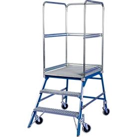 Escalera de plataforma, rodante, unilateral, escalones de rejilla, tam. 3, 44kg