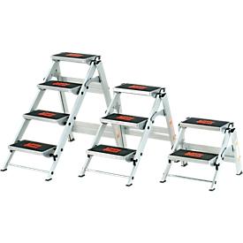 Escalera de seguridad, sin asa, aluminio, 2 escalones