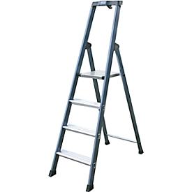 Escalera de tijera, anodizado, 4 escalones