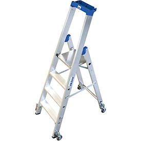 Escalera de tijera de aluminio, móvil, 4 escalones