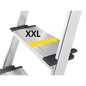 Escalera de tijera Hailo L80, EN 131, con bandeja multifuncional y escalones XXL, hasta 150kg, 3 escalones
