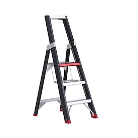 Escalera de tijera Professional Topline, unilateral, aluminio, 3 escalones, negro