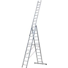 Escalera multifunción de 3 partes, 3 x 6 peldaños