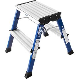 Escalerilla plegable doble Rolly, 2 x 2 escalones, azul
