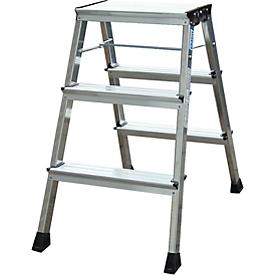 Escalerilla plegable doble Rolly, 2 x 3 escalones, color aluminio