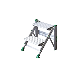 Escalerilla plegable Facal Pilo, EN 14183, hasta 150kg, altura de trabajo 2420mm, 2 escalones de An 370 x P 230mm, plata