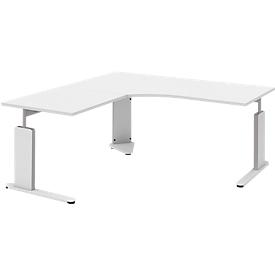 Escritorio con mesa de extensión izquierda BARI, pata en C, forma B, forma libre, An 1800mm, blanco