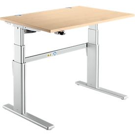 Escritorio confort, ajustable en altura eléctr. en 2 niveles, An 1200mm, arce/aluminio blanco