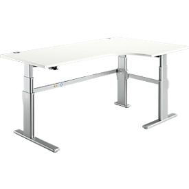 Escritorio en L 90° confort, extensión derecha, ajustable en altura eléctr. 2 niveles, An 2000mm, blanco/aluminio blanco