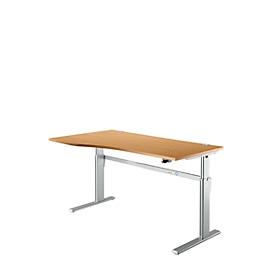Escritorio estándar, regulable en altura eléctricamente, forma libre, fijación a la izquierda, pie C, ancho 1800 x fondo 1000/800 x alto 725-1185 mm, haya/aluminio blanco