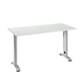 Escritorio Login, rectangular, pie C, ancho 1300 x fondo 650 mm, aluminio gris claro/blanco RAL 9006