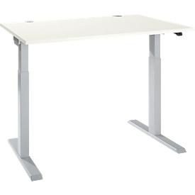 Escritorio Schäfer Shop Select ERGO-T 2.0, regulable en altura eléctricamente, rectangular, pie en T, ancho 1200 x fondo 800 x alto 715-1205 mm, aluminio blanco/blanco