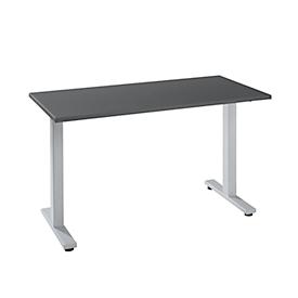Escritorio START UP, rectangular, pie en T, ancho 1300 x fondo 650 x alto 735 mm, aluminio gris grafito/blanco