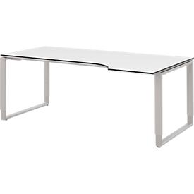 Escritorio TEQSTYLE, extensión derecha, base de patín, forma libre, An 1800mm, blanco/aluminio