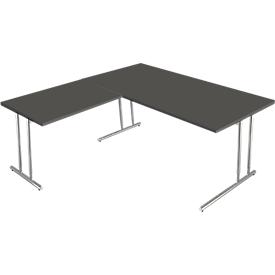 Escritorio Toledo, con mesa adicional, ajustable en altura, pata en C, An 1600 x P 800mm, antracita
