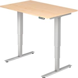 Escritorio ULM, regulable en altura eléctricamente, rectangular, pie en T, ancho 1200 x fondo 800 x alto 625-1275 mm, arce/aluminio blanco + interruptor de memoria