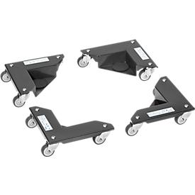 Esquineras rodantes Fetra, 4 elementos, capacidad de carga 150 kg c.u., con ruedas giratorias y maletín, gris antracita
