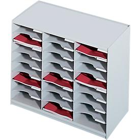 Estación de clasificación de PAPERFLOW, DIN A4, poliestireno, 24 compartimentos, gris claro.