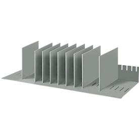 Estación de clasificación, DIN A4, poliestireno, para armarios, 8 compartimentos, ancho 700 x fondo 275 x alto 210 mm