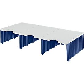 Estación de clasificación styro® Jumbo, DIN C4, 1 estante/3 filas/3 compartimentos, azul