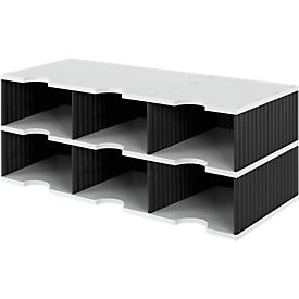Estación de clasificación styro® Jumbo, DIN C4, 2 estantes/3 filas/6 compartimentos, negro