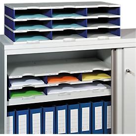 Estación de clasificación styro® Standard, DIN C4, 3 niveles / 3 filas / 9 estantes, gris/azul