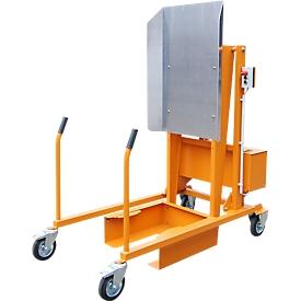 Estación de volteo de contenedores de basura MKS, para toneles de 120 y 240 l, altura de vertido 1480 mm, áng. volteo 135°, hasta 110kg, ruedas, 12V, RAL 2000