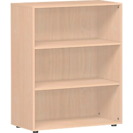 Estantería ALICANTE, 3 alturas de archivo, 2 estantes, An 800 x P 400 x Al 1104mm, haya