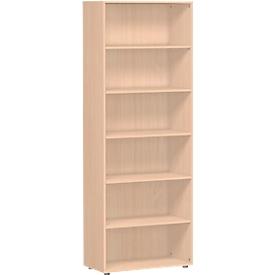Estantería ALICANTE, 6 alturas de archivo, 5 estantes, An 800 x P 400 x Al 2160mm, haya